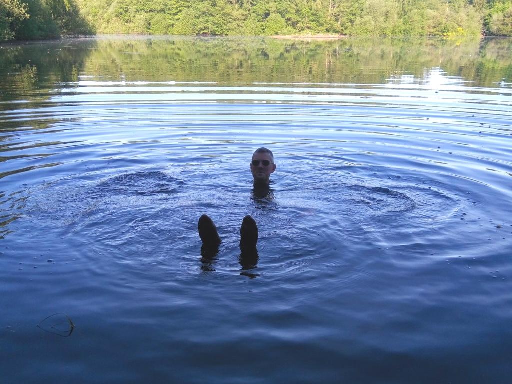 Matt in the water at Sparham Pools